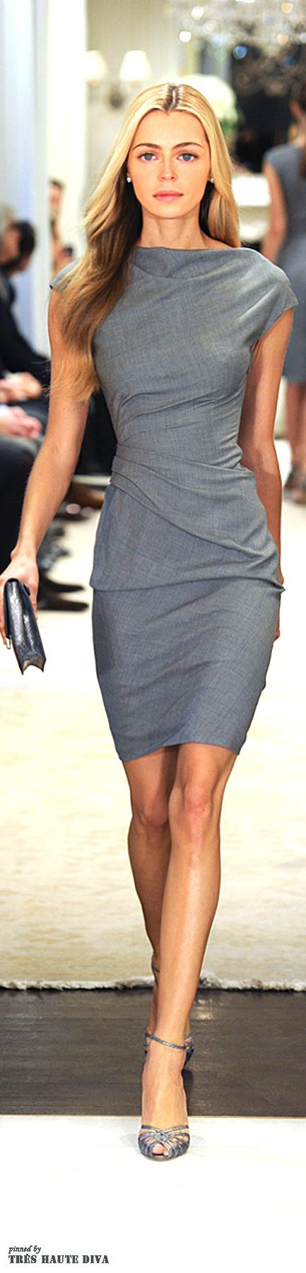 oh my! She looks like she left behind chocolate chip cookies. Grey dress by Ralph Lauren