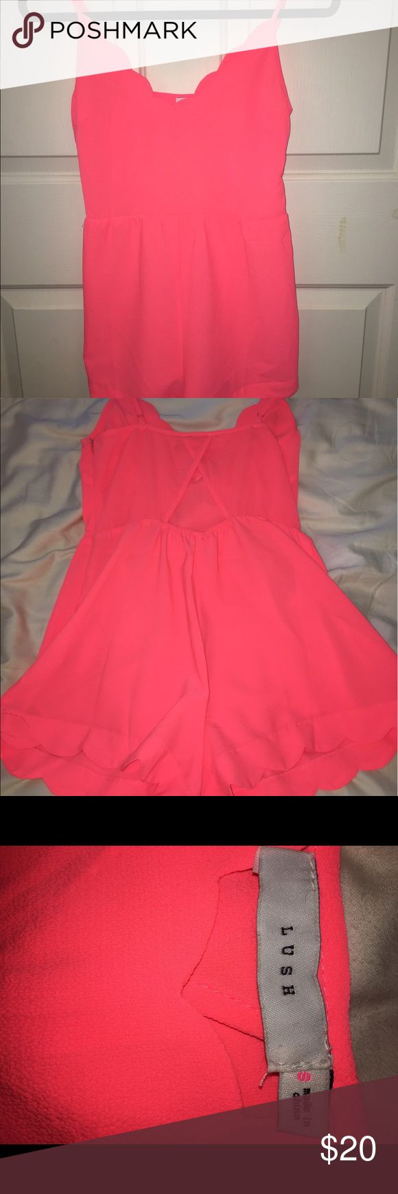 Red Dress Boutique romper Neon pink romper from Red Dress Boutique. Super cute and fun for summer. From the brand Lush. Worn Once. Has a bit of a crisscross in the back. Lush Dresses