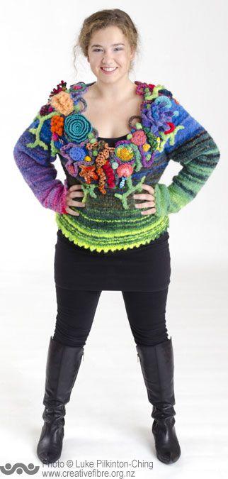MERIT: KNIT WORLD AWARD --- Coral Reef --- (Elaine Macgregor, Waipukurau) --- Hand knitted jersey, hand dyed.