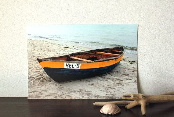 nautical decor colorful dinghy boat at the by AnnaKiperPhoto