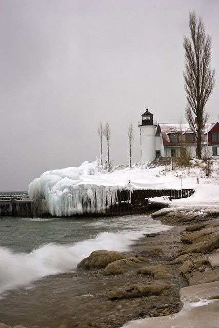 Waves roll in at Point Betsie Lighthousem, Michigan, on a cold February day. We got there just in time as a winter storm rolled in a few minutes later.