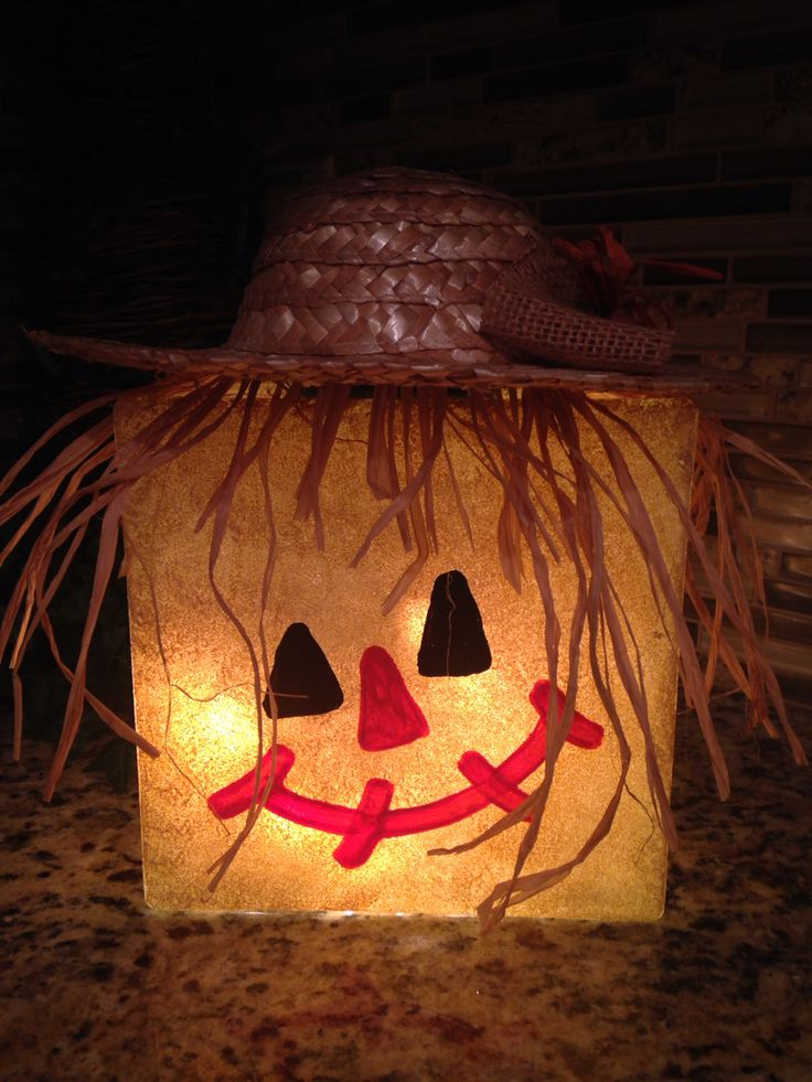 Lighted scarecrow glass block