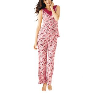 Rose Tinted Pyjama Set  •Lightweight floral print set •V-neck top and elasticised waistband pants •90% polyester, 10% spandex •Sizes S, M, L, XL