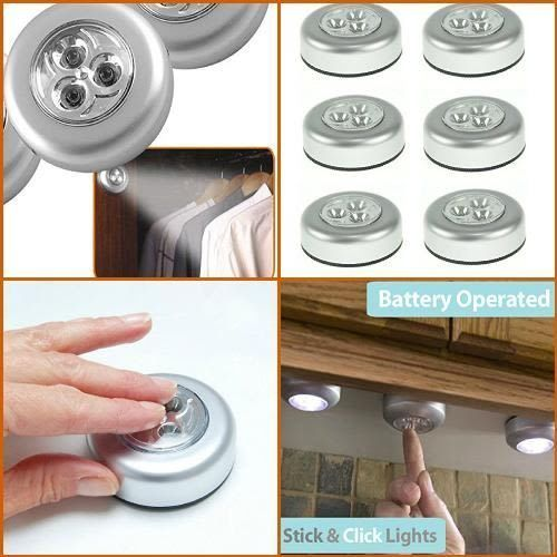6 Pack Wireless LED Lights For Kitchen Counter Led Under Cabinet Closet Puck NEW #PIXNOR