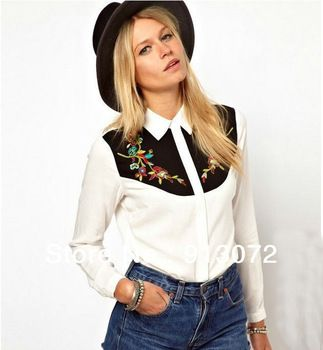 ST849 New Fashion Ladies' sexy embroidery floral blouses elegant long sleeve stylish Shirt casual slim brand designer tops