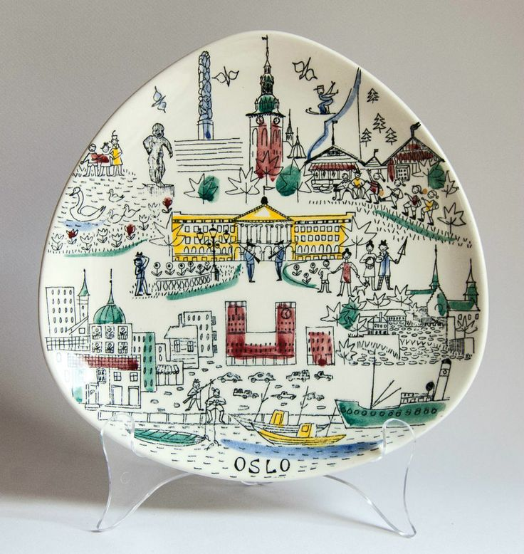 Stavangerflint Norway, Inger Waage, Oslo Wall Plate - I have several of these plates
