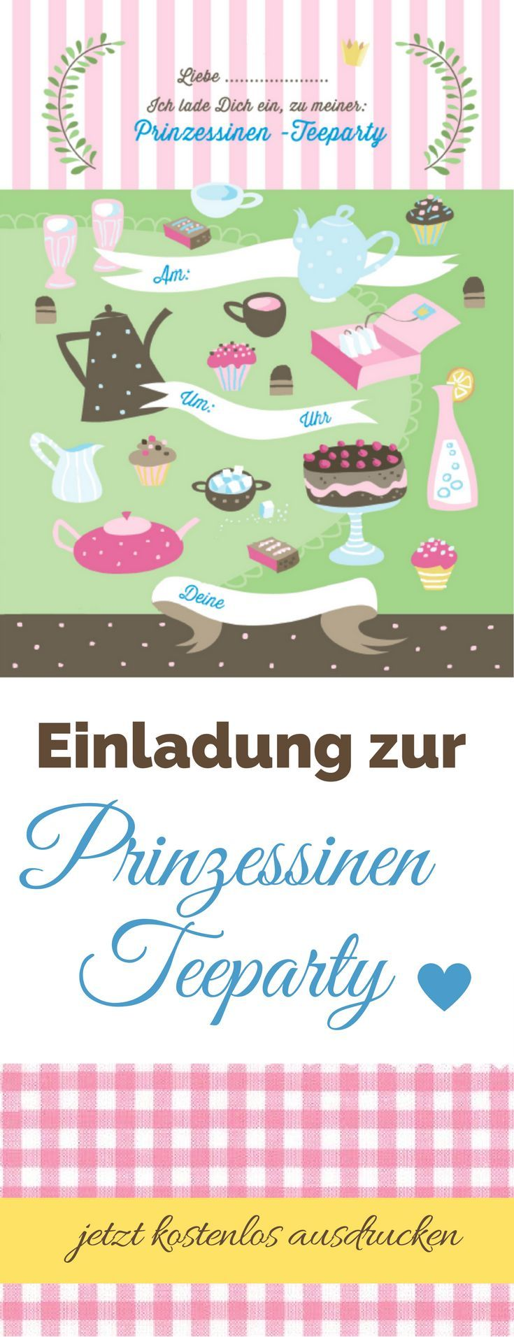 """Prinzessinnen Einladung für die Prinzessinnen Party. Kostenlose Vorlage zum Ausdrucken - einfach downloaden. Aus meinem Buch """"Die Spieletrickkiste"""" - habe ich für euch auf meinen Blog umsonst zum Download bereit gestellt."""