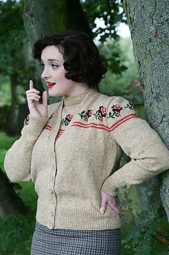 Trimmed with roses  Twinset Cardigan by Susan Crawford