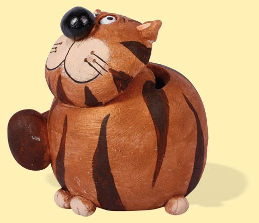 Spardose Katze Mauz rund groß bronze - Klick:  Zurück zu Katzen Miez & Mauz