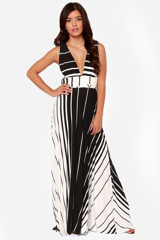 Switch Lanes Black and White Striped Maxi Dress at LuLus.com