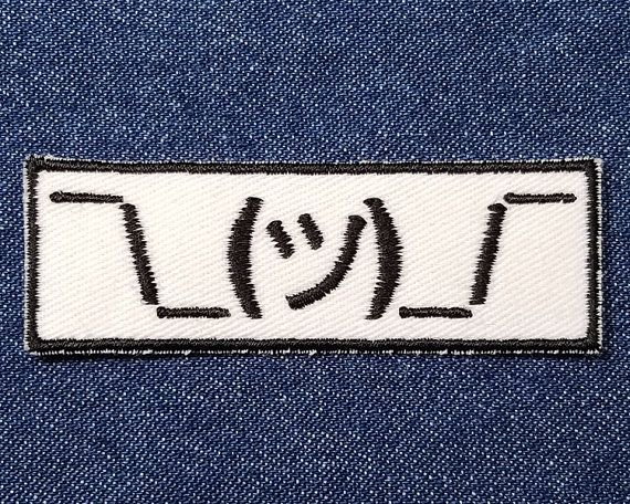 Shrug Emoji Embroidered Patch Applique  Shrug Patch  by GeekParade