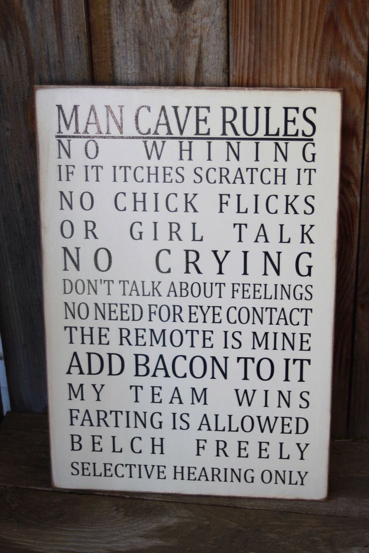 Man Caves Are Stupid : Man cave rules subway art wall hanging board by