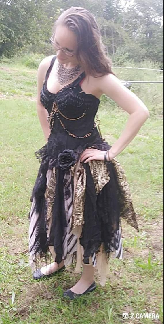 c53ade7b4559 Steampunk Gothic pagan event wedding dress black gold tan sexy   Etsy  Whimsical, original, unique wedding and special event dresses.