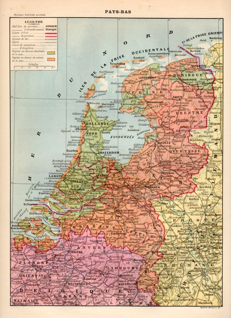 The Netherlands Antique Print 1897 Lithograph Map