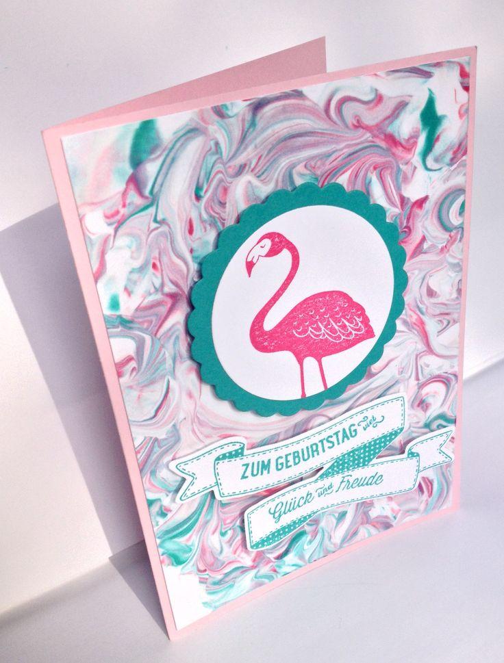 """Geburtstagskarte mit marmorirtem Papier, dem schönen Flamingo aus """"Pop of paradise"""" und dem Spruch & Stanze aus """"Geburtstagsbanner"""" - Stampin up"""