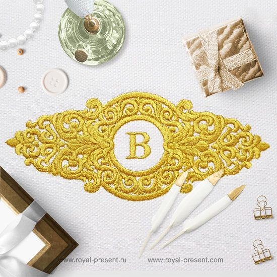 Machine Embroidery Design Baroque Ornate frame
