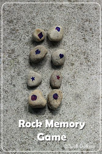Toddler rock memory game. Would be easy to do with colors. Do while camping. Take with you.