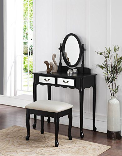 3-Piece Wood Make-Up Mirror Vanity Dresser Table and Stool Set, Black eHomeProducts http://smile.amazon.com/dp/B00ZWQP07A/ref=cm_sw_r_pi_dp_ULXPvb1SMQW77