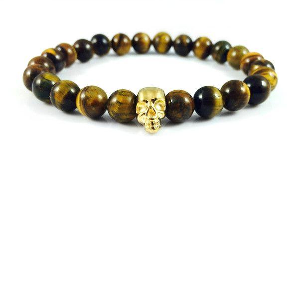 Męska bransoletka tygrysie oko ze złotą czaszką w Dizarro na DaWanda.com