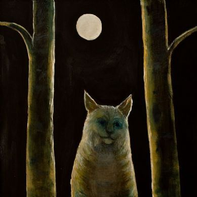 Joyce Koskenmaki.   oil on canvas 20''x20''    ''As he sat and played the music...  Nothing was there in the forest  ...which came not near to listen..  And the lynxes shared the pleasure...  To the Kantele to listen...''  RUNO XII, 25.