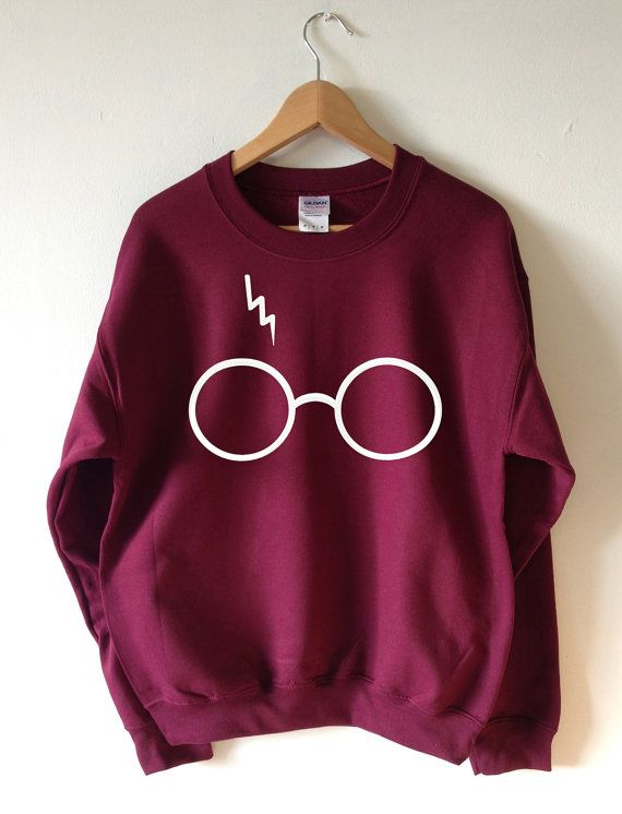 HARRY POTTER INSPIRED GLASSES AND LIGHTNING SWEATSHIRT SCREEN PRINTED FOR A SUPERIOR RETAIL QUALITY FINISH Available in Unisex super soft