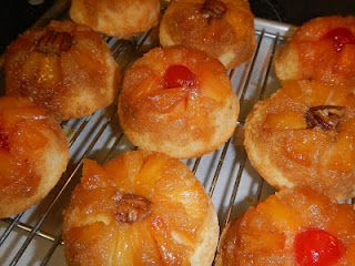 Mini Pineapple Upside Down Cakes...so cute.  Would be great for a bake sale!