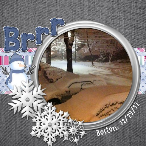Brr... this picture looks like it's looking through a window winter scrapbook layout
