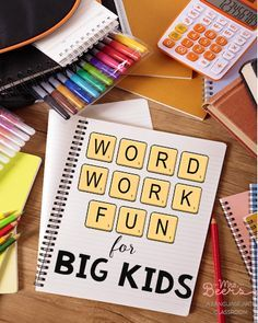 Word Work Fun for Big Kids -ideas for making word work meaningful for middle…