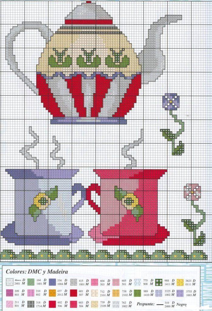 875 best images about cross stitch coffee tea cups for Punto de cruz para cocina