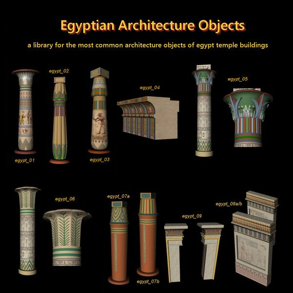 Egyptian Architecture Columns Egypt 3d C4d Egyptian Library By Old