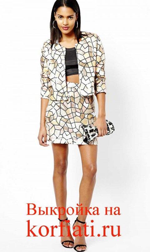 Выкройка мини-юбки и пиджака – мозаика из пайеток