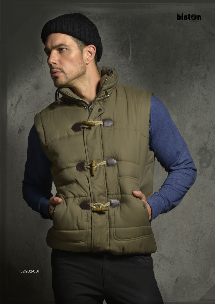Men's vest with hidden hood. www.biston.gr