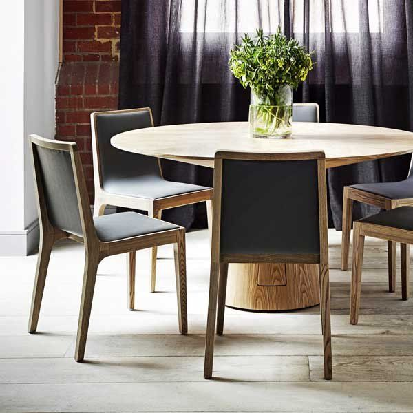 From the Classique collection of quality finished timber furniture...     The Classique Round Dining Table finished in veneer available in Matt Dark Oak or Natural Ash
