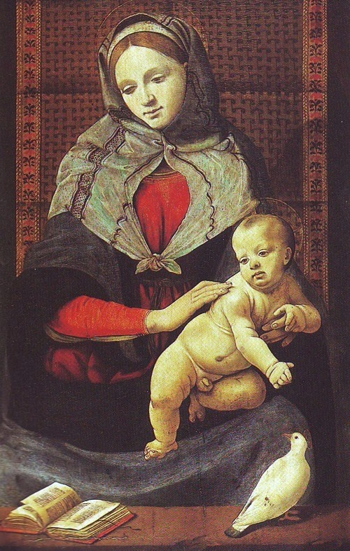 Piero di Cosimo (Italian High Renaissance painter, c 1462-1521) The Virgin And Child With A Dove
