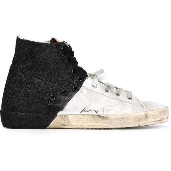 Golden Goose Deluxe Brand 'Francy' hi-top sneakers ($465) ❤ liked on Polyvore featuring shoes, sneakers, black, high top sneakers, black leather high tops, flat sneakers, leather high top sneakers and black sneakers