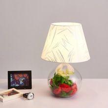 Modern Glass Tafellamp Stof Lampenkap Office Living Slaapkamer Bed Bruiloft Decor Lichten Home Verlichting E27 110-220 V(China (Mainland))