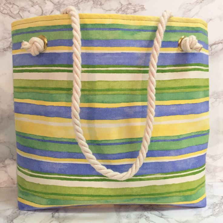 Green/Yellow Striped Tote Bag by RoxburyPlace on Etsy https://www.etsy.com/listing/236229417/greenyellow-striped-tote-bag
