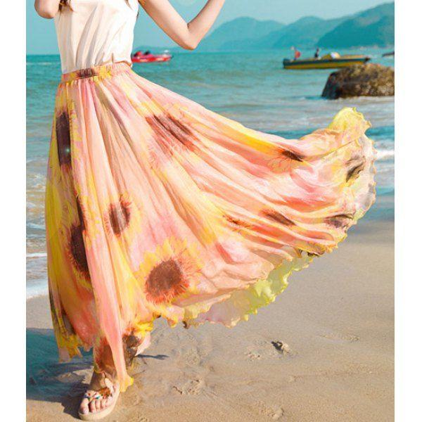 $21.41 Bohemian Sunflower Print Ankle-Length Skirt For Women