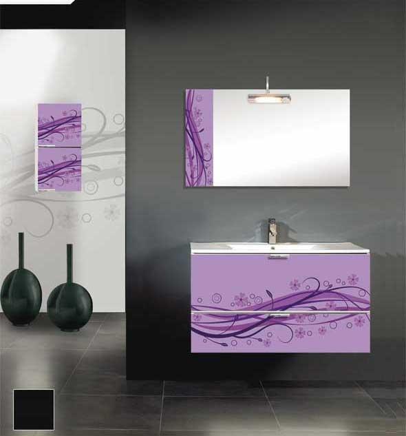 Mueble de baño con cristal decorado en color Malva.