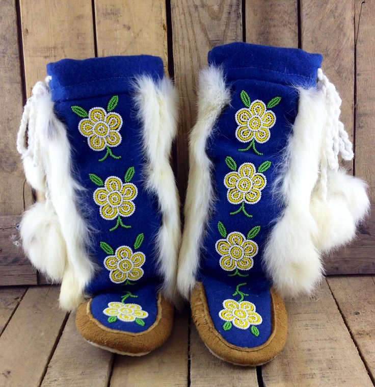 Hand-Tanned Moose Hide Mukluks with Blue Stroud and White Rabbit Fur.