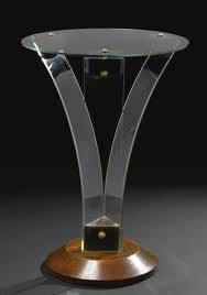 """RENÉ COULON """"PALME"""" GUÉRIDON glass, stained wood and lacquered metal 24 3/4 in. (62.9 cm) high circa 1937 produced by the Glaceries de Saint-Gobain"""