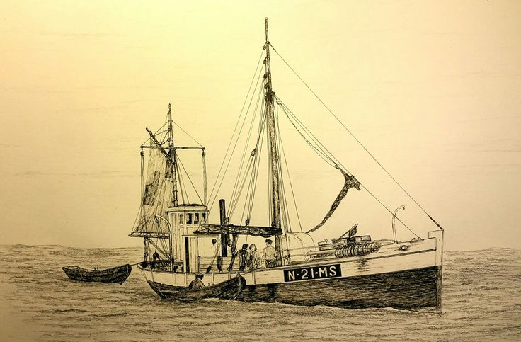 "1920-30's typical norwegian fishing vessel. Name ""Vesterheimen"" fishing by the use of dorry. .Own drawing."