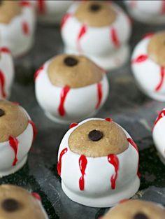 Peanut Butter and Chocolate Eyeballs   21 Spooky Halloween Dessert Ideas