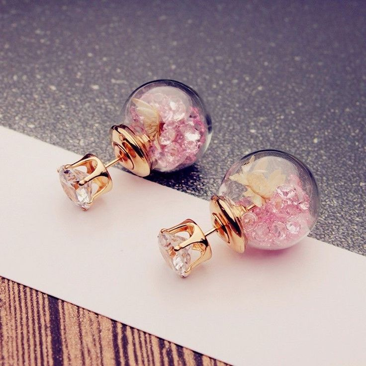 Trendy Colorful Rhinestone Glass Ball Flower Round Earrings Pink - Tmart