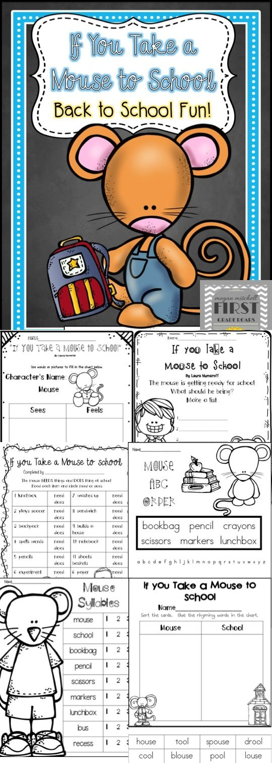 Do you need a great story to read for back to school? If you take a Mouse to School is so much fun for the children. It will remind them of all the fun things that can happen at school.  This product offers activities that link to If you Take a Mouse to School written by Laura Numeroff