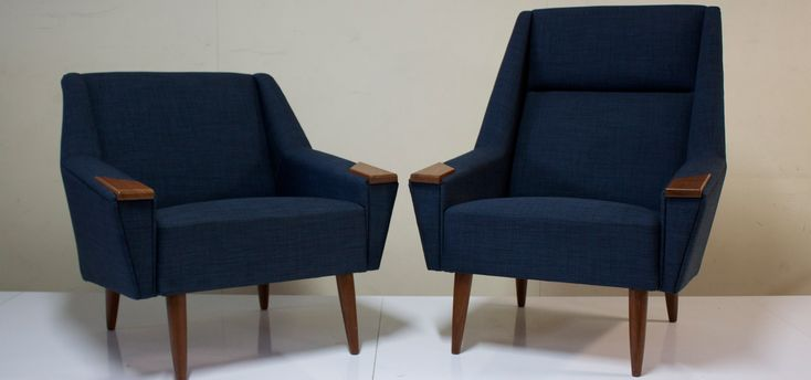 Beautifully restored this pair of Danish Mid Century Upholstered Arm Chairs was upholstered in Warwick fabric at Nucleus Upholstery Melbourne and is for sale at Modern History Fitzroy