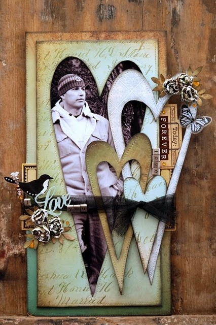Love...using layered hearts as a photo frame is a great idea for a scrapbook page or card. Love the vintage country look.