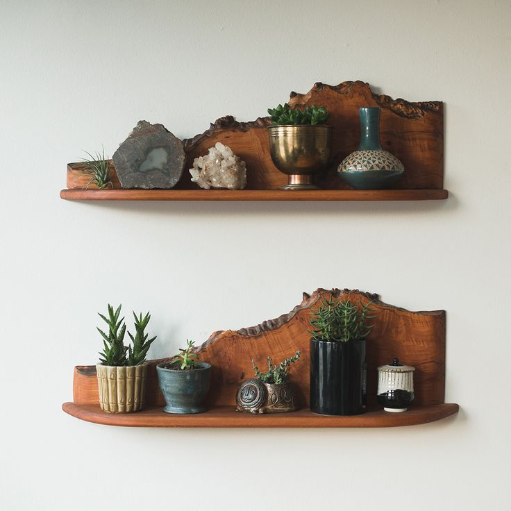 mid century live edge shelves