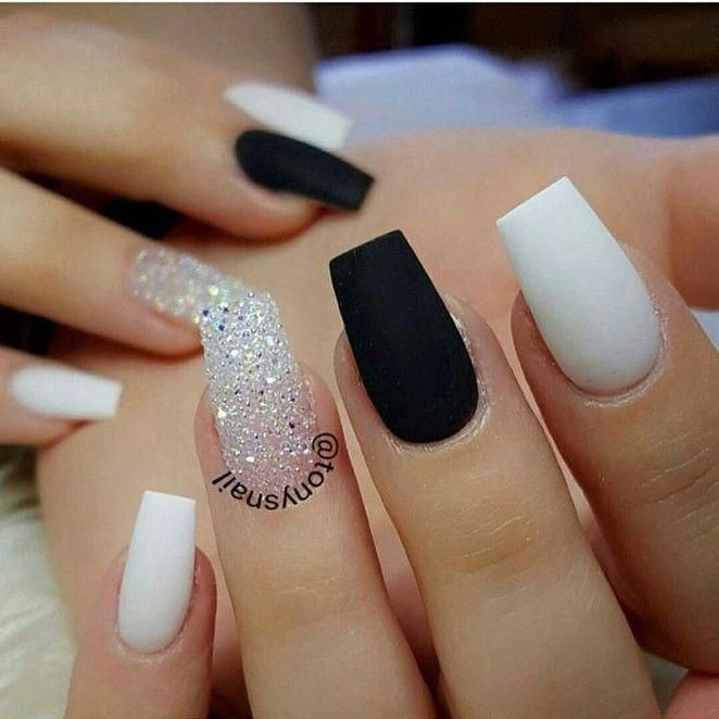 100 Black And White Acrylic Coffin Nails Ideas In 2019 Page 31 Coffinnails Whiteacrylicnails In 2020 Cute Acrylic Nails Trendy Nails Gel Nails