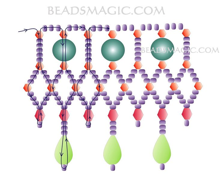 Free pattern for necklace Crystal Ice - 2-----------------U need: seed beads 11/0 bicone beads 3 mm bicone beads 5 mm pearl beads  8 mm crystal drops
